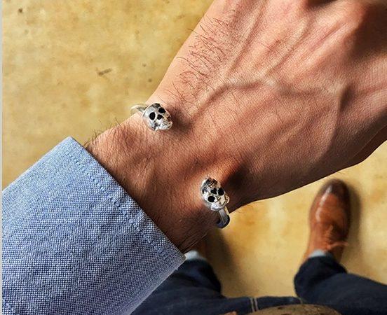 Sterling silver skulls bracelet