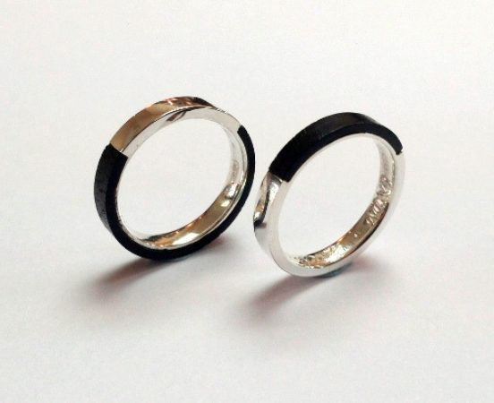 STEARLING SILVER & EBONY WEDDING BANDS