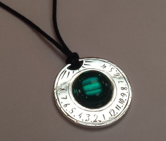 Sterling silver solar watch pendant