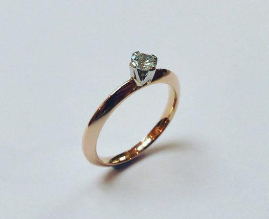 18ct. Rose & white gold diamond engagement ring