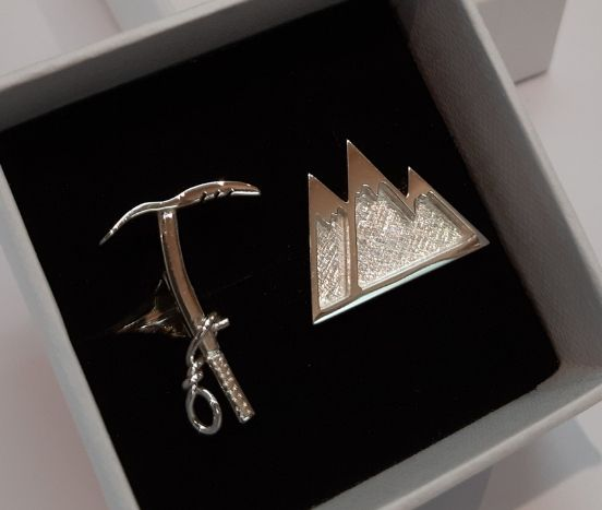 STERLING SILVER ASIMETRIC CUFFLINKS